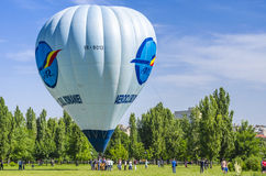 Hot air balloon. Surrounded by people is ready to fly June 7, 2014 in Bucharest, Romania Stock Image