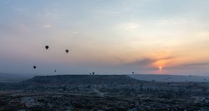 Ground,balloons  and sky stock photography