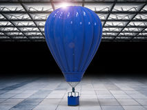 Hot air balloon in hangar. 3d rendering blue hot air balloon in hangar Stock Photography