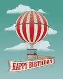 Hot air balloon. Happy Birthday - Greeting card - Hot air balloon. Vintage vector illustration Royalty Free Stock Photo