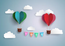 Hot air balloon in a heart shape. Origami made hot air balloon in a heart shape Royalty Free Stock Photography