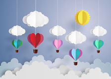 Hot air balloon in a heart shape. Royalty Free Stock Image