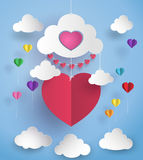 Hot air balloon in a heart shape. Stock Photography