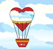 Hot Air balloon Heart shaped. With clouds superimposed - dreamy love concept Royalty Free Stock Image