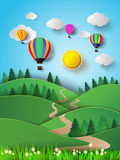 Hot air balloon high in the sky with sunlight.Vector illustratio Royalty Free Stock Image