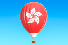 Hot air balloon with Hong Kong flag, 3D rendering Royalty Free Stock Photo