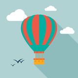 Hot air balloon icon icon with long shadow. Royalty Free Stock Images