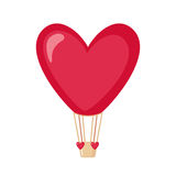 Hot air balloon icon in the shape of heart. Royalty Free Stock Photo