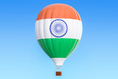 Hot air balloon with India flag, 3D. Rendering Royalty Free Stock Photography