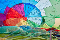 Hot air balloon inflating inside view Royalty Free Stock Photos