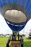 Hot air balloon inflating for launch Royalty Free Stock Images