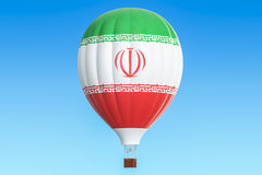 Hot air balloon with Iran flag, 3D. Rendering Royalty Free Stock Images