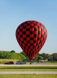 Hot air balloon landing Stock Photo