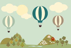 Hot air balloon landscape cartoon vintage illustration Stock Photos