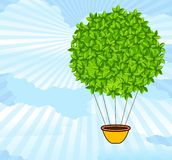Hot Air Balloon with Leaves Royalty Free Stock Photos