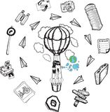 Hot air balloon with lifestyle doodles Stock Image