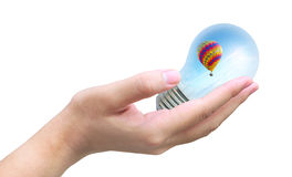 Hot air balloon in light bulb Royalty Free Stock Photo