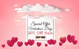 Hot air balloon with love. Invitation card Valentine`s day. Pape. R cut red heart. Vector illustration Royalty Free Stock Photography