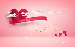 Hot air balloon with love. Invitation card Valentine`s day. Pape. R cut red heart. Vector illustration Stock Images