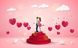 Hot air balloon with love. Invitation card Valentine`s day. Pape. R cut red heart. Vector illustration Royalty Free Stock Photo