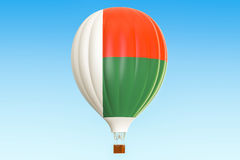 Hot air balloon with Madagascar flag, 3D rendering. Hot air balloon with Madagascar flag, 3D Royalty Free Stock Photography