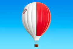 Hot air balloon with Malta flag, 3D rendering. Hot air balloon with Malta flag, 3D Royalty Free Stock Photography