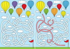 Hot air balloon maze. For kids with a solution Stock Photography