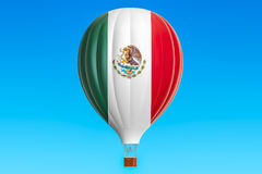 Hot air balloon with Mexican flag, 3D rendering. Hot air balloon with Mexican flag, 3D Stock Image