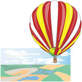 Hot Air Balloon / montgolfier vector. Hot Air Balloon / montgolfier and Clouds Stock Images