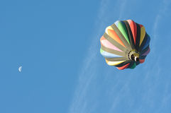 Hot Air Balloon with the Moon Royalty Free Stock Images