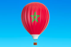 Hot air balloon with Morocco flag. 3D rendering Royalty Free Stock Photography