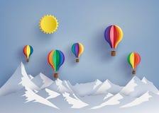 Hot air balloon and mountain stock photo