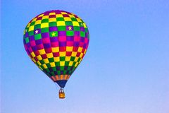 Hot Air Balloon with Multi Colored Squares Stock Photo