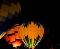 Hot air balloon at night stock photos
