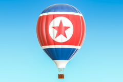 Hot air balloon with North Korea flag, 3D rendering. Hot air balloon with North Korea flag, 3D Royalty Free Stock Image