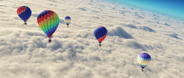 Hot air balloon o. Hot air balloons flying over clouds.  This is a 3d render illustration Stock Photo