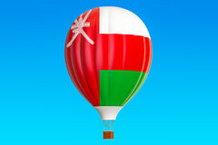 Hot air balloon with Oman flag, 3D. Rendering Stock Photos