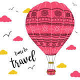 Hot air balloon with ornaments in cloudy sky. Time to travel. Can be printed and used as banner, greeting card, poster, invitation royalty free illustration