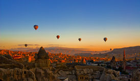 Hot air balloon over Cappadocia Stock Photo