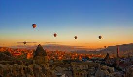 Hot air balloon over Cappadocia stock photo