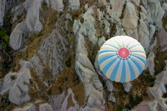 Hot air balloon over Cappadocia stock photos