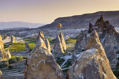 Hot air balloon over Cappagocia in Turkey Royalty Free Stock Photography