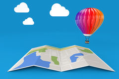Hot Air Balloon over City Map. 3d Rendering. Hot Air Balloon over City Map on a blue background. 3d Rendering Stock Images