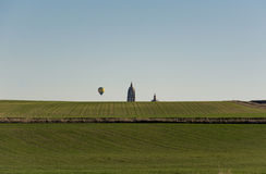 Hot Air Balloon Over Field  Royalty Free Stock Image