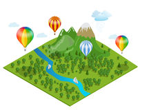 Hot air balloon over the forest, over the  moutimes and clouds. Flat 3d vector isometric illustration hot air balloons. Stock Photo