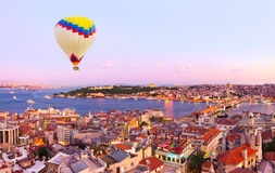 Hot air balloon over Istanbul sunset Stock Image