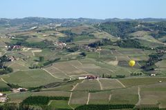 Hot air balloon over Italy`s Piemonte region. stock image