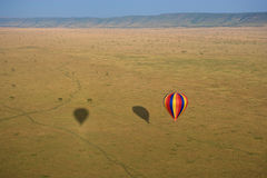Hot air balloon over Masai Mara. Hot air balloon over the Masai Mara National Reserve, Kenya, Africa Royalty Free Stock Photos