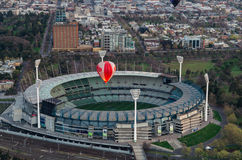 Hot air balloon over Melbourne Cricket Ground Royalty Free Stock Image