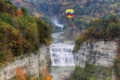 Hot Air Balloon Over The Middle Falls At Letchworth State Park. In New York Stock Image